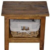Nachtschrank Massivholz Nachttisch Nachtkommode Holz Korb Braun Landhaus Shabby