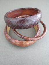 Vintage Snakeskin Leather Cuff Bangles Danish Bracelets 3