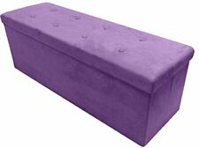 Storage Ottoman Bench – Collapsible/Folding Chest Faux Suede Large Purple