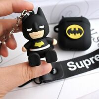 Batman Spiderman Earphone Cover for Apple Airpods Charging Case Holder Bag Strap