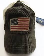 Ralph Lauren Mens Company Olive American Flag Corduroy/Mesh Cap O/S NWT