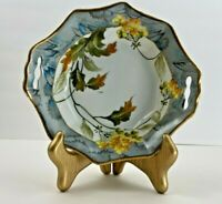 Vintage Hand Painted TT Nippon Fall Floral Scalloped Bowl w Handles 8 Inch Dia.