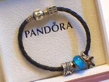 ORIGINALE Pandora in pelle intrecciata argento Bracciale con Charm e ARGENTO CHARMS SCATOLA ORIGINALE