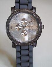 Men's Gray Silicone/Hematite Finish Geneva  Dressy/Casual Fashion Watch