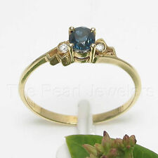 14k Solid Yellow Gold Genuine Diamond & Natural Blue Sapphire Solitaire Ring TPJ