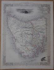 1851 TALLIS Atlas Map, TASMANIA, AUSTRALIA