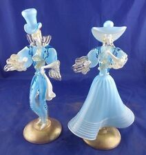 OLD Italy Murano Glass Venetian couple figurine man woman Gold Fleck Blue