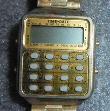 vintage mens time date calculator quartz wristwatch