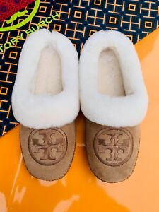Tory Burch NIB Coley 2 Embroidered Shearling Suede Royal Tan Slippers Mules