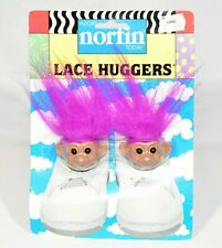 Vintage NEW Nofin Troll Shoe Lace Huggers 1991 Pink Hair Trolls For Your Shoes