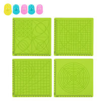 4pcs Multi-Purpose 3D Design Silicone Mat Basic Template with 5 Finger Caps