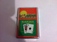 LAS VEGAS Refillable Metal LIGHTER BlackJack NEW OFFICIAL MERCHANDISE RARE