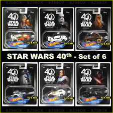Hot Wheels Star Wars 40th Set of 6 Character Cars R2D2 Vader Chewbacca +3 New
