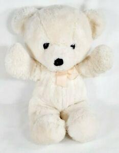 "Dakin Cuddles White Teddy Bear 15"" Plush Stuffed Pink Peach Bow Vintage 1979"
