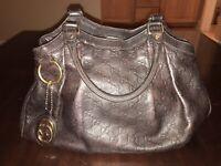 Gucci Brown Leather Sukey GG Logo Guccissima Bag Purse Medium Size