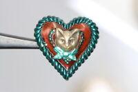 Wunderschön bemalter Aufsteck-Zierknopf - Katze mit Herz - wohl ab 2010 -