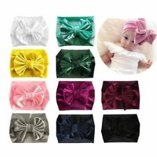 10 PACK Velvet Elastic Stretchy Wide Bowknot Knot Hair Bow Headbands Turban Wrap