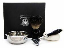 4 Piece Shaving Set In Black Pure Black Badger Brush 3 Edge Razor Bowl & Soap