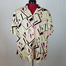 Womens Vintage 90s Notations Shirt Plus Size 1x Neon Bright Abstract Crazy Print
