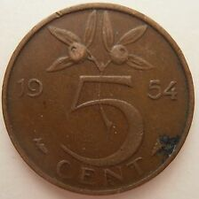 NETHERLANDS 5 CENT 1954