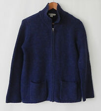 J.Crew Sweater Cardigan 100% Wool Full Zip Rustic Navy Blue Size S