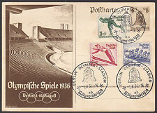Germany REICH 1936 OLYMPIC Games Nice Satz PC 12 Stamps FD 1-8-36  Cancels