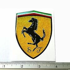 FERRARI PLATE RESIN EMBLEM DOMED 3D CAR BADGE STICKER FREE SHIPPING 6 x 8CM
