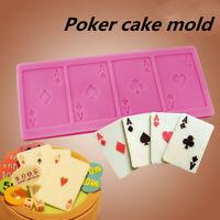 Poker Shape Silicone Chocolate Cake Mold Decorating Fondant Candy Baking  H