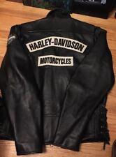Vintage HARLEY DAVIDSON Motorcycle Biker Leather Cafe Racing Patch Jacket.