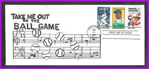 """ROBERTO CLEMENTE: FDC - fun cachet """"Take me out to the ballgame"""" - 3 stamps"""