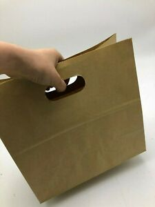 100 x Brown Kraft Paper Bags - Take Away Large 280x280+150mm