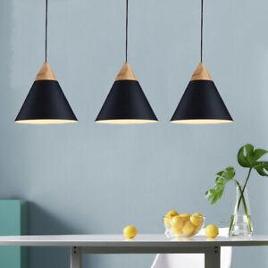 3X Wood Pendant Light Black Ceiling Lamp Modern Lights Bar Chandelier Lighting