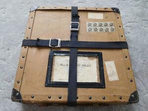 "vtg 15"" paper fiber Movie FILM REEL EMPTY Shipping BOX w/straps metal corner '64"