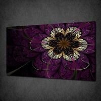 PURPLE GOLD FRACTAL FLOWER MODERN CANVAS WALL ART PRINT PICTURE READY TO HANG