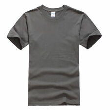 Mens Short Sleeve T-shirt Crew Neck Tee Basic Gym Cotton Casual Top Solid Color