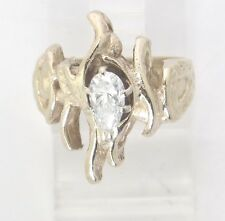 14k Yellow Gold Pear Diamond Solitaire Engagement Ring .50ct 8.1g