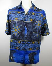 "Vintage Mens 80s Blue Hawaiian Shirt MEDIUM 40"" (38-40) Rayon / Geometric Print"