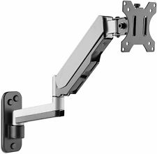 AVLT-Power Aluminum Single Gas Spring Monitor Wall Mount with Extended Arm Riser