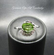 18ct White Gold Parabia Green Tourmaline & Diamond Cluster Ring Size M 1/2 3.7g