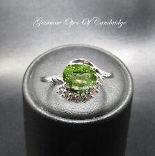 18K 18ct Gold Parabia Green Tourmaline & Diamond Cluster Ring Size M 1/2 3.7g