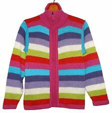 Strickjacke Cardigan Alpaka Wolle, Gr.S, 34*36, Alpaca Jacke Streifen pink blau