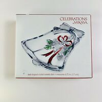 "Mikasa Celebrations Glass Bell Shaped Bon Bon Dish ""Holiday Bells"" in box"