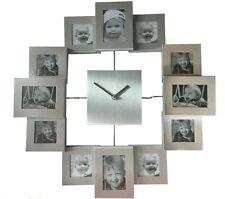 Fotouhr SILBER 12 Fotos Collage Uhr Bilderrahmen Wanduhr Geschenk Family