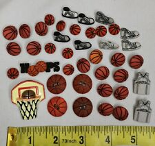 Lot of 40 Basketball Craft Buttons Dress It Up Flatbacks Sports Hoops Sneakers