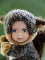"""Ashley Belle Collectibles""""Squirrel""""with Porcelain Baby Doll Face- eyelashes 12"""""""