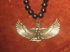 "24"" 8MM HEMATITE  65MM GOLD EGYPT EGYPTIAN ISIS WINGED GODDESS PENDANT NECKLACE"