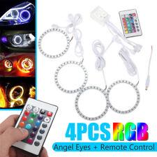 AU 4X 90mm RGB LED Angel Eye Halo Ring Light DRL +Remote For BMW E32 E34 E30 E36