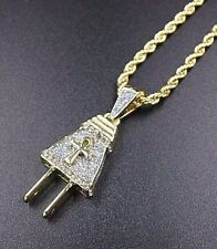 "14k Gold Ankh Electric Plug Pendant 24"" Rope Chain Necklace King Pharaoh Africa"
