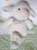 Pier 1 One Imports Lamb Sheep White Fluffy Plush w Floral Flowers Stuffed Toy EU
