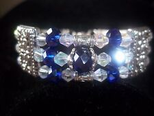 Hot Fashion Jewelry Tibetan Silver Dark Blue & Clear Crystal Bead Bracelet B-46